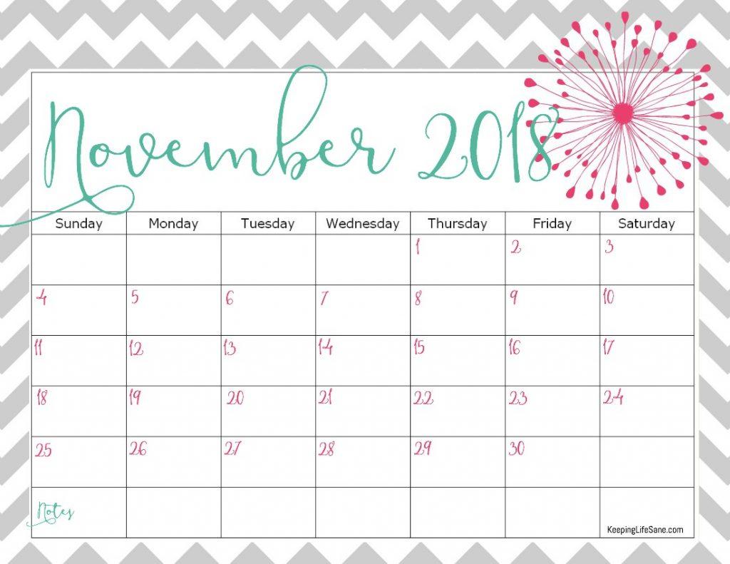 Cute November 2018 Calendar Printable