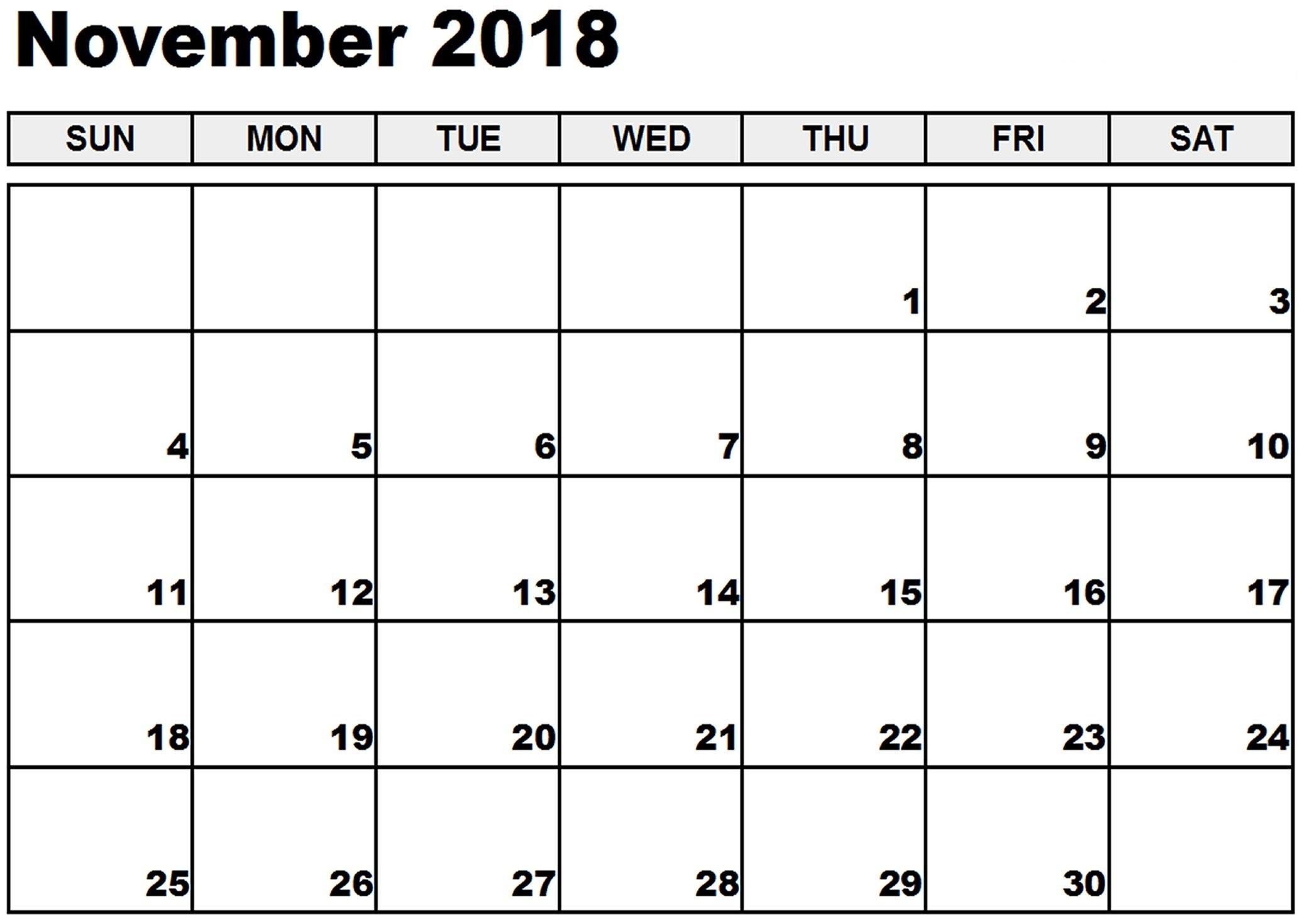 Cute November 2018 Calendar Template