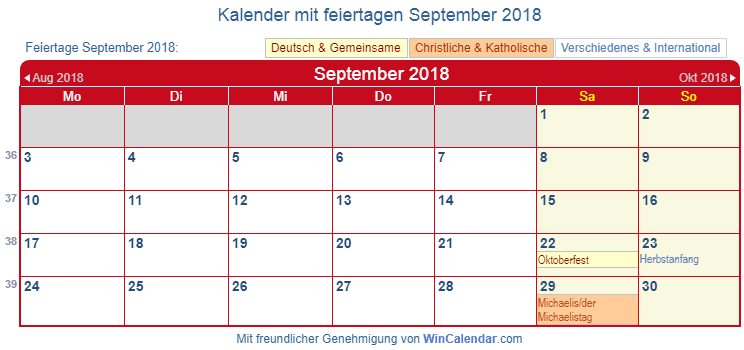 Deutschland Kalender September 2018
