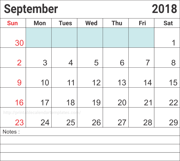 Editable Calendar September 2018