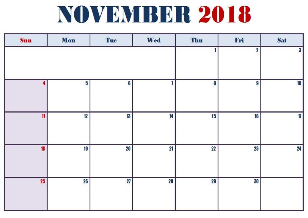 Editable November 2018 Calendar Blank