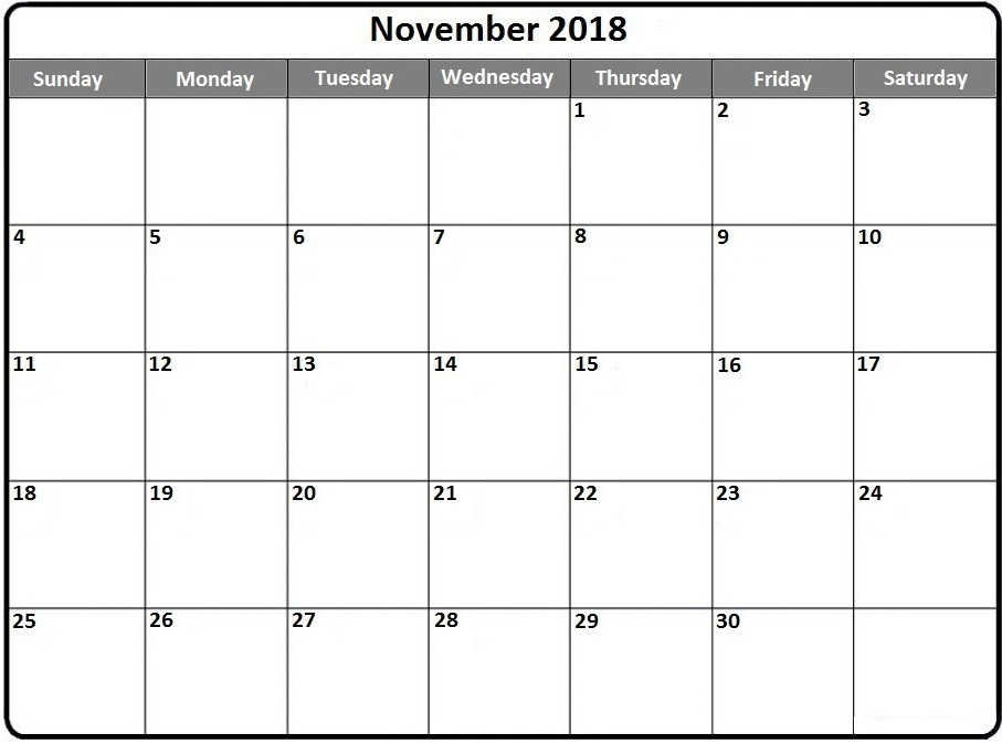 Editable November 2018 Calendar Template