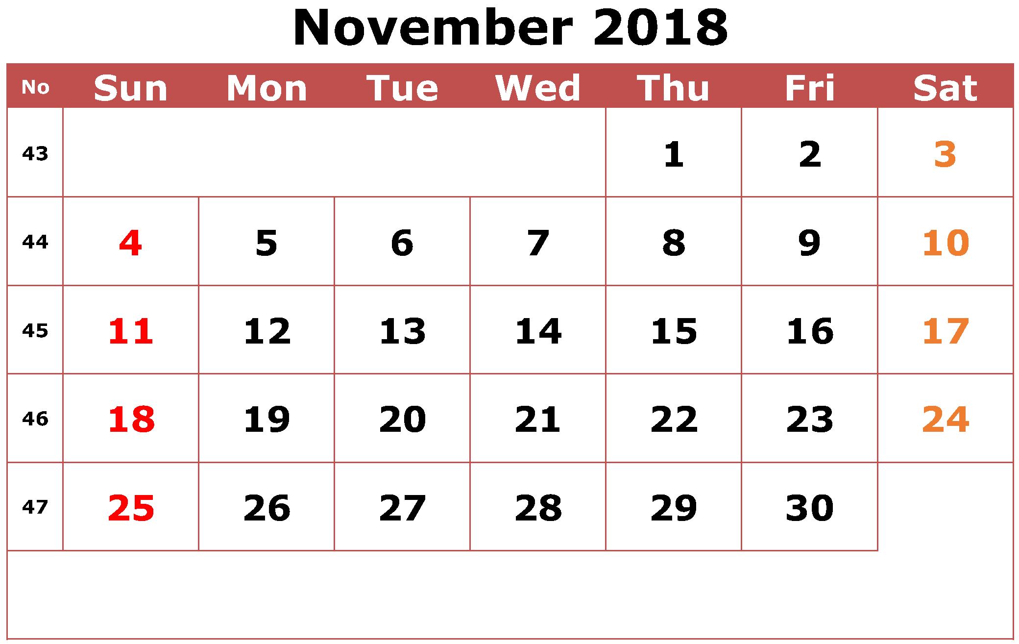 Excel Calendar November 2018