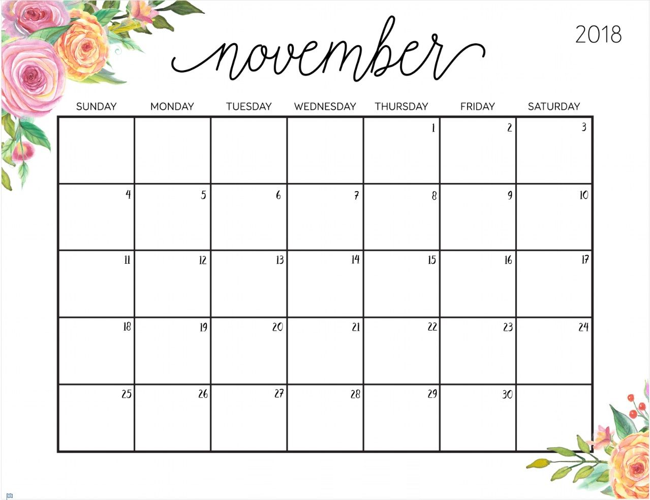 Floral November 2018 Calendar Template