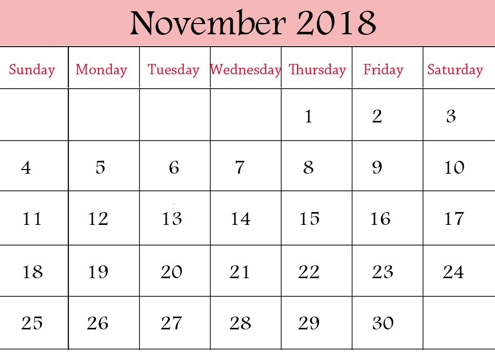Free Download November 2018 Calendar Excel