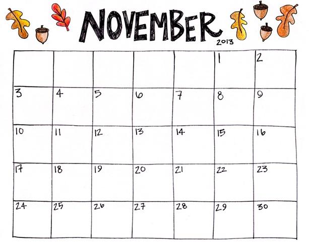 Free November 2018 Calendar PDF Template