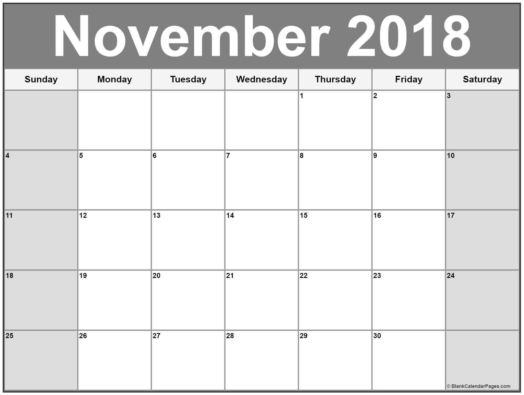 Free November 2018 Calendar Printable