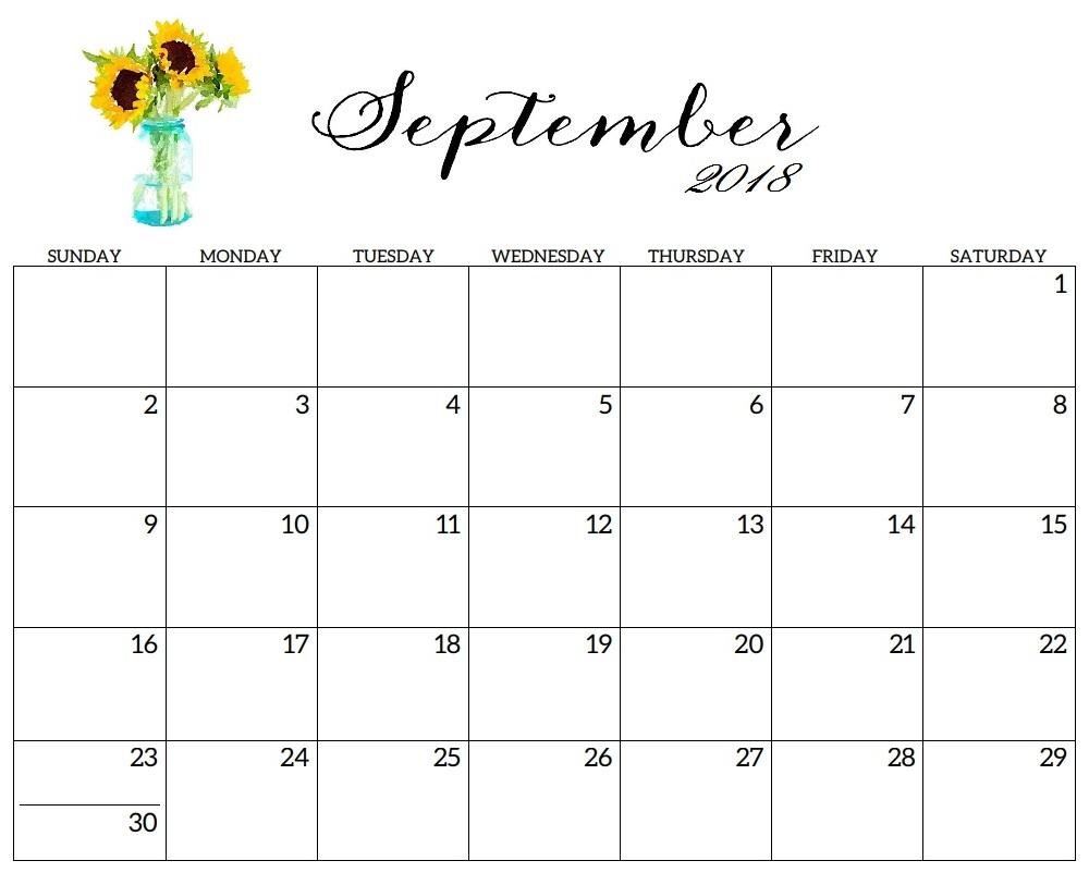 Free Printable 2018 September Calendar