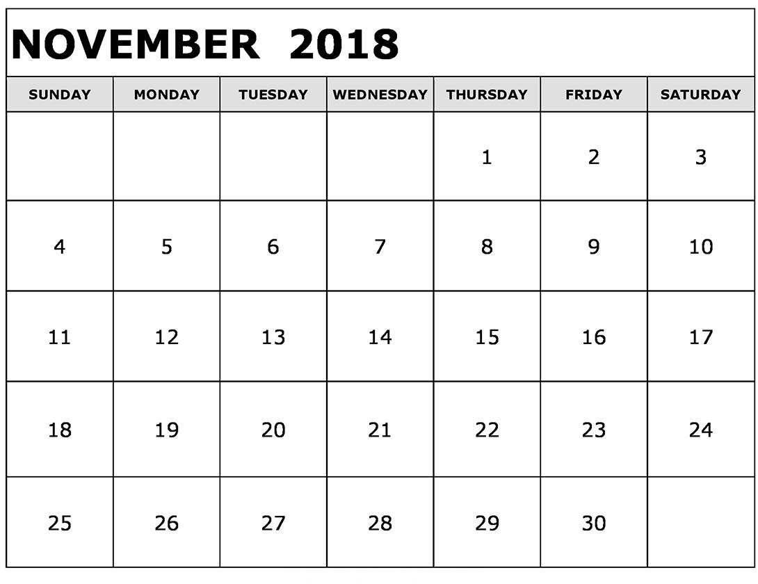 Free Printable Blank Calendar November 2018