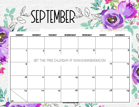 Free Printable September 2018 Cute Calendar Design