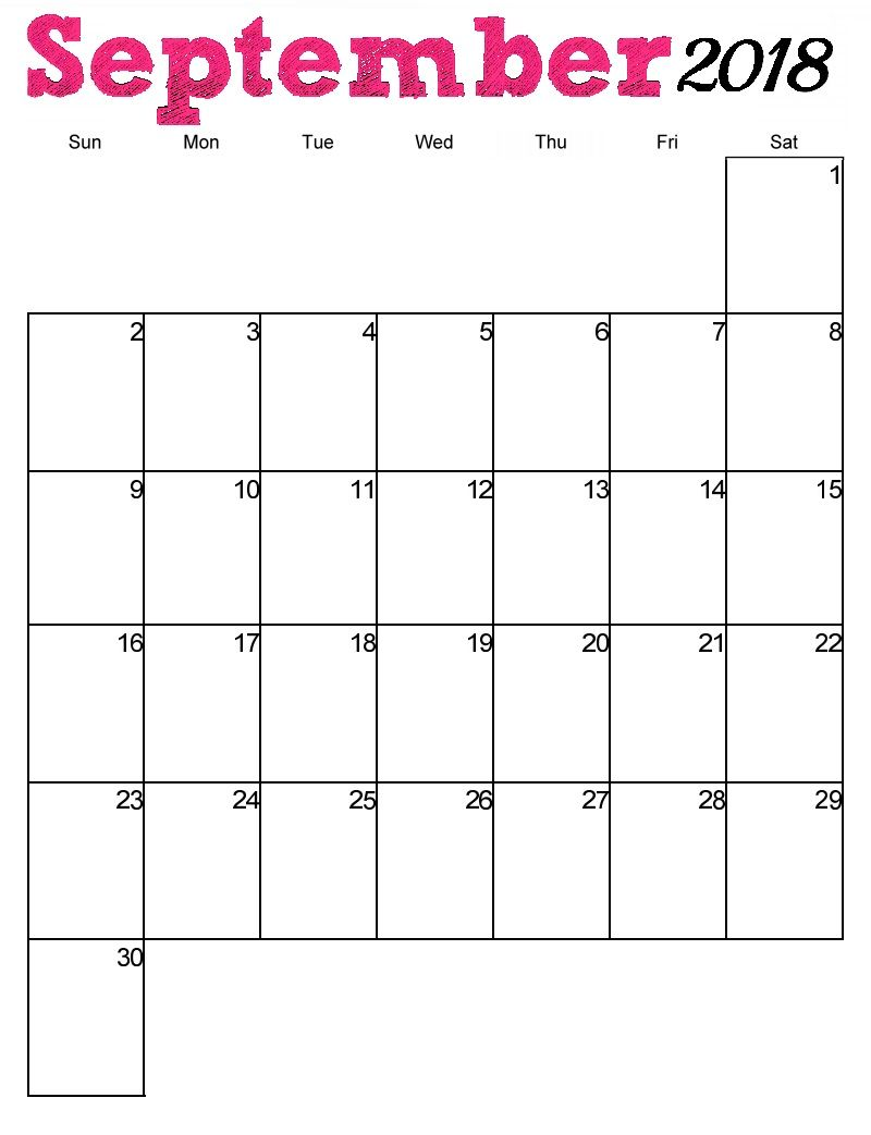 Free September 2018 Calendar Vertical Template