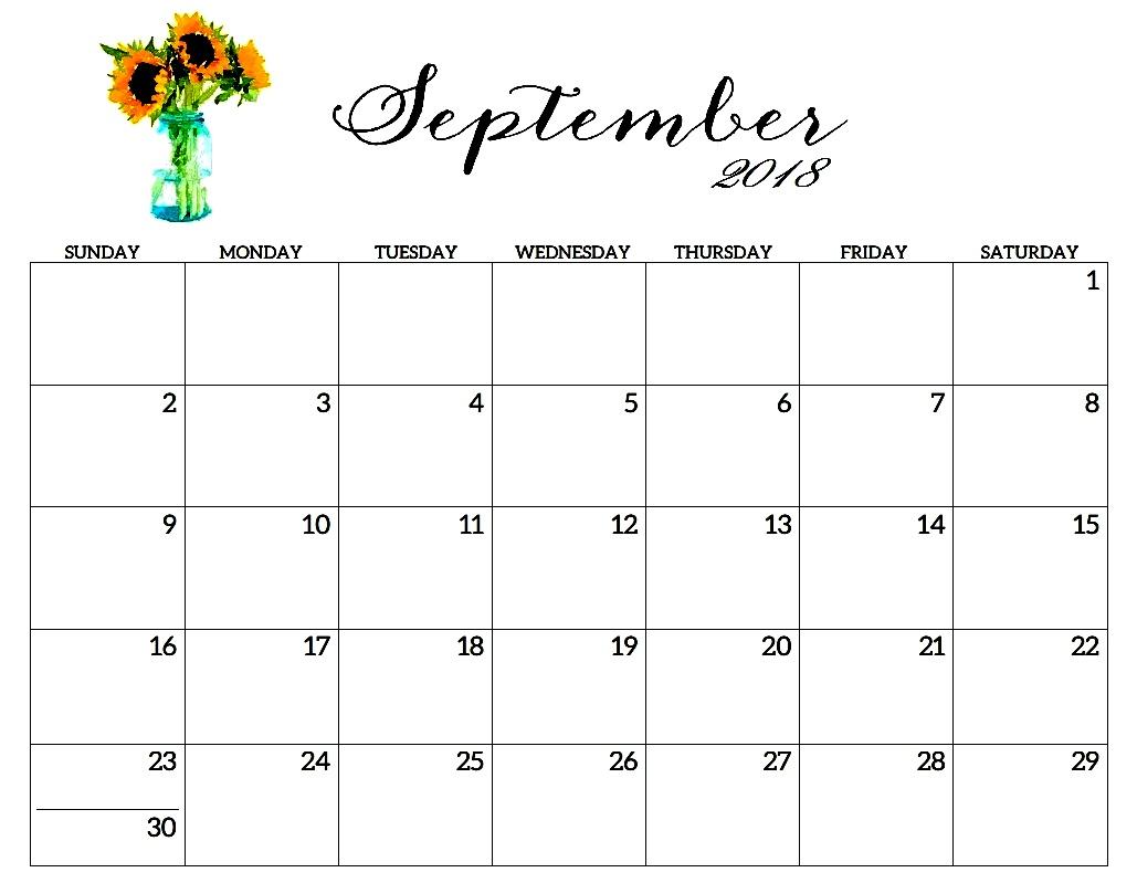 Free September 2018 Floral Calendar Landscape