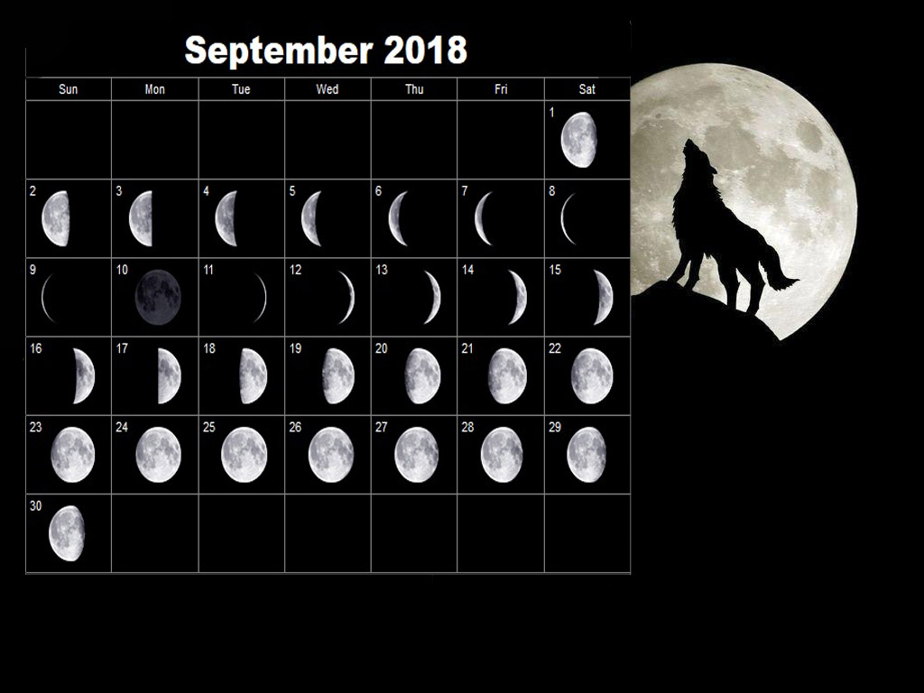 Full Moon Calendar September 2018 Printable