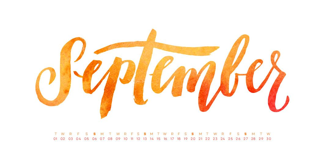 Hand Lettered September Desktop Wallpaper