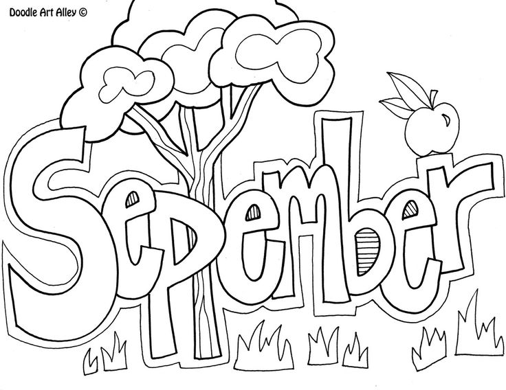Hello September Clipart Black and White
