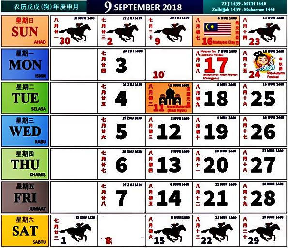 Kalendar Kuda 2018 September 9