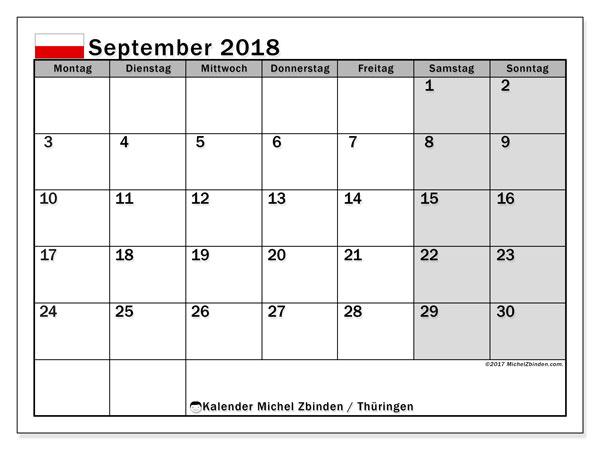Kalender September 2018 Thuringen
