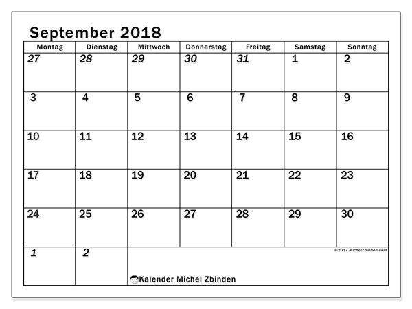 Kalender September 2018