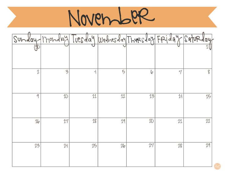 Monthly November 2018 Calendar Excel