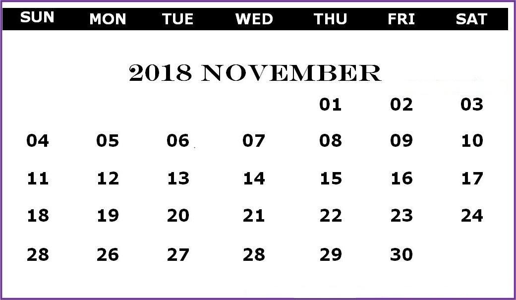 November 2018 Blank Calendar PDF