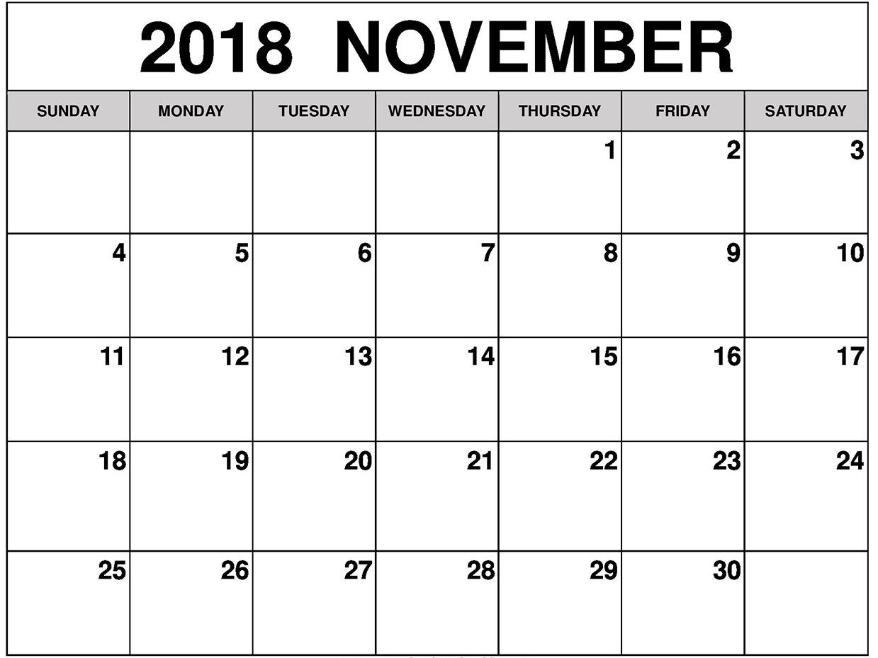 November 2018 Blank Calendar Page
