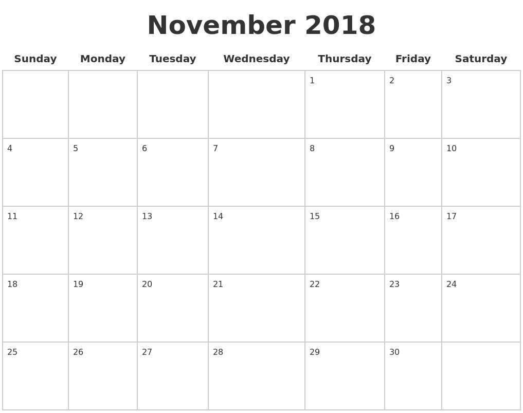 November 2018 Blank Calendar Pages