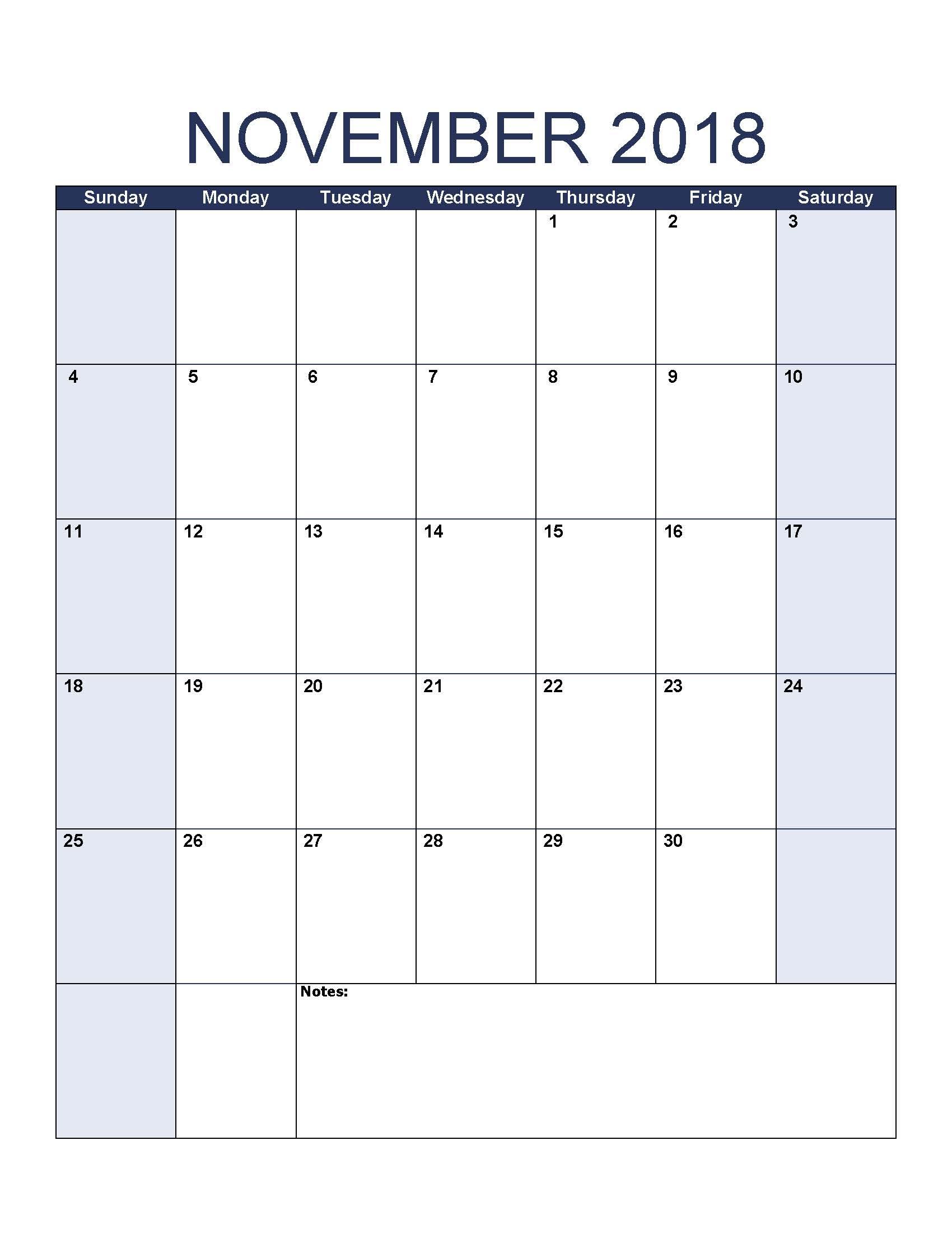 November 2018 Blank Calendar Portrait