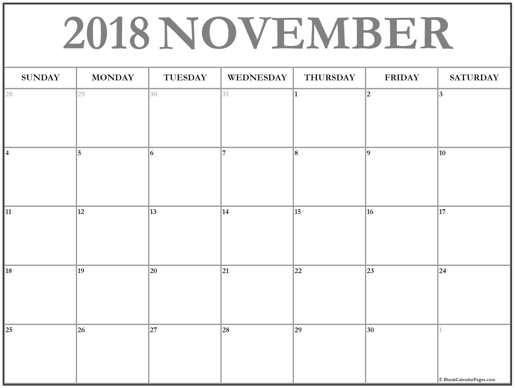 November 2018 Calendar Blank Planner