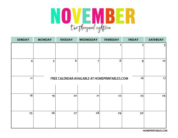 November 2018 Calendar Cute Template