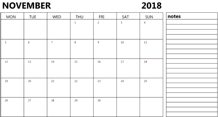 November 2018 Calendar Excel Notes