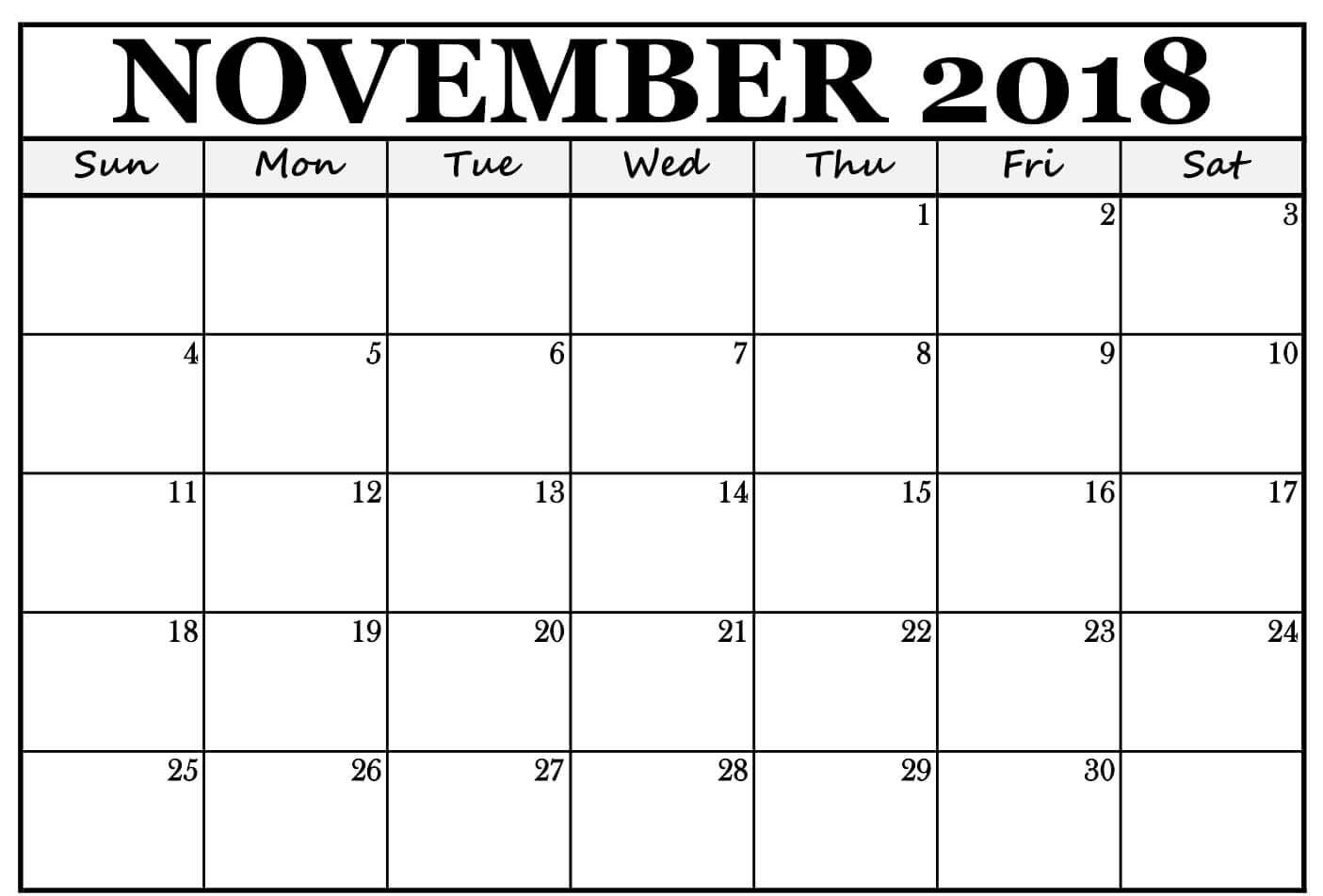 November 2018 Calendar Excel Template