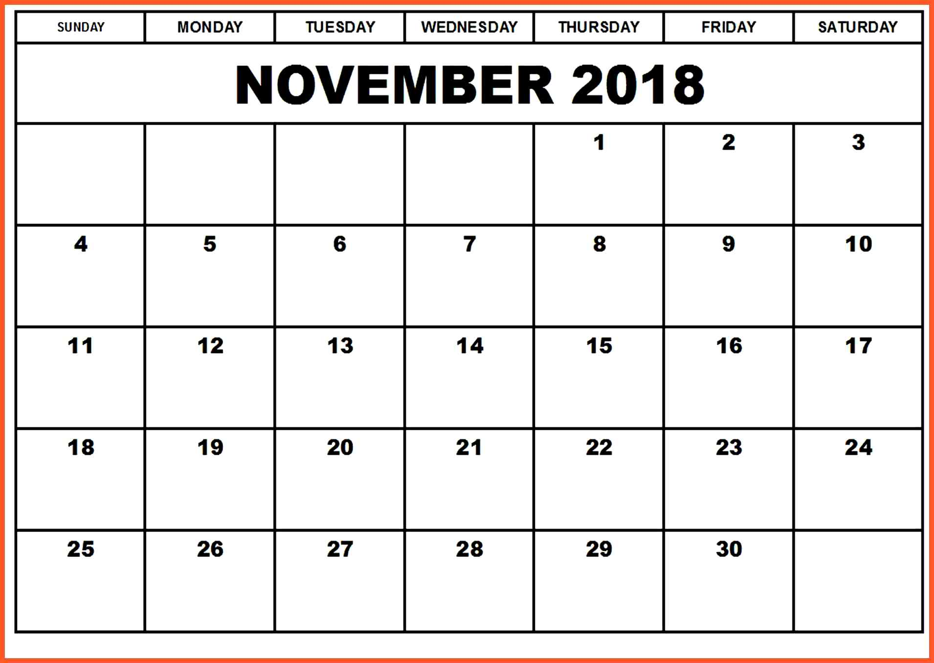 November 2018 Calendar Excel Worksheet