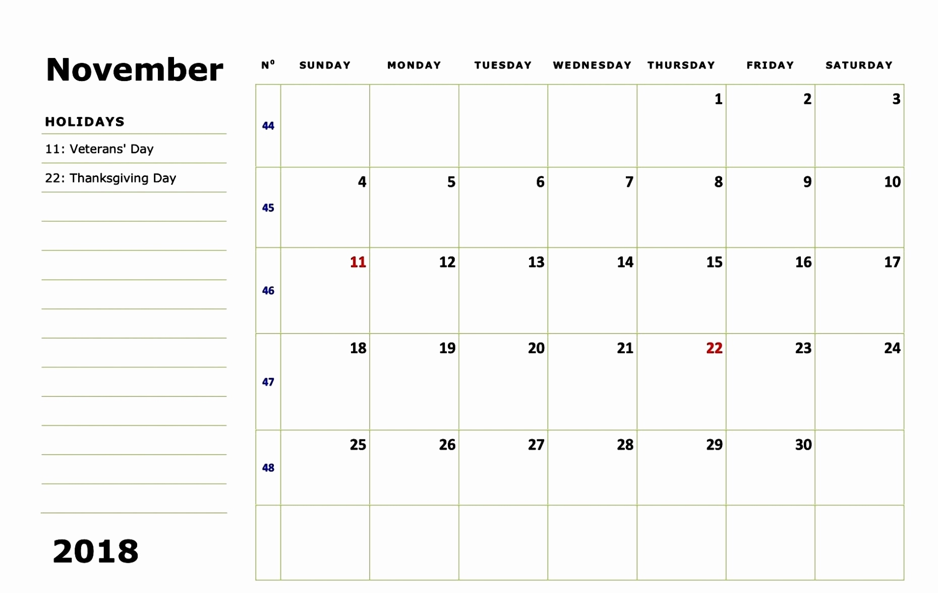 2018 November Calendar Holidays