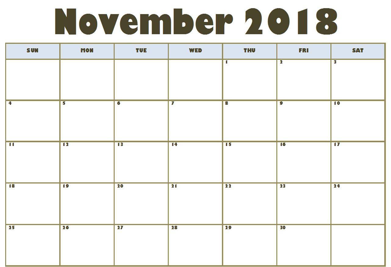 November 2018 Calendar In Excel