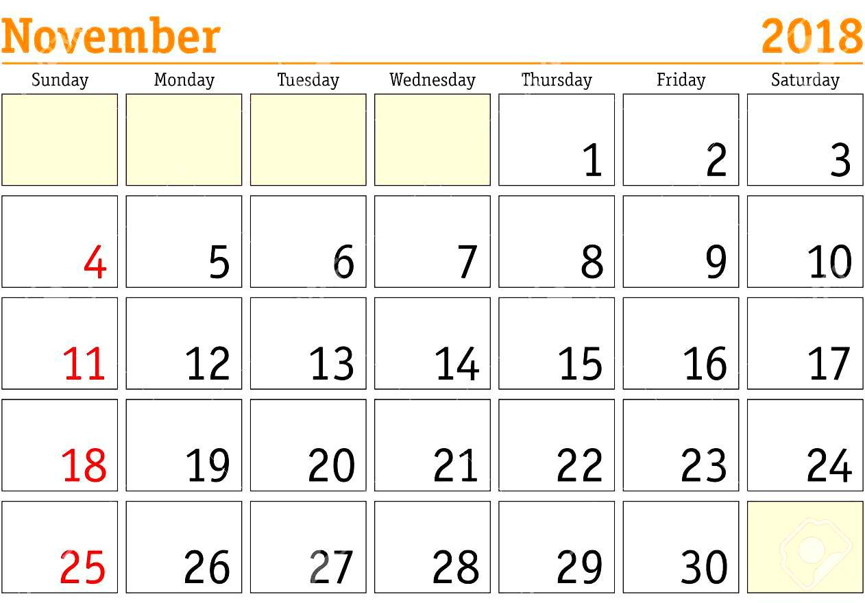 November 2018 Calendar Monthly Weekly Template