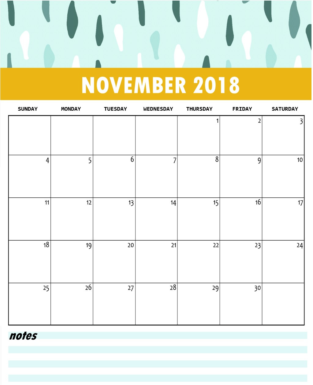 graphic about Printable November Calendar Pdf titled November 2018 Calendar PDF