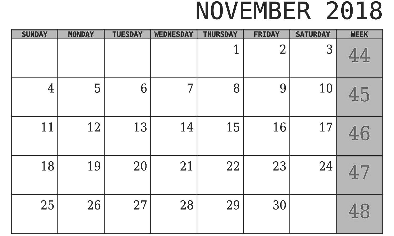 November 2018 Calendar PDF Template