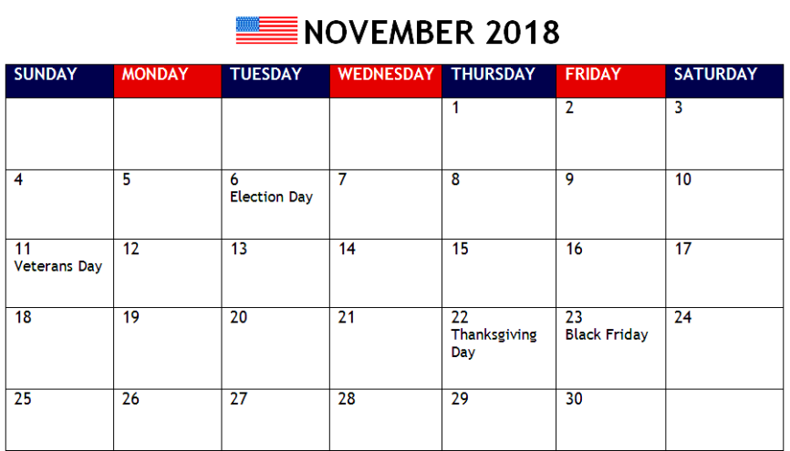 November 2018 Calendar PDF With Holidays