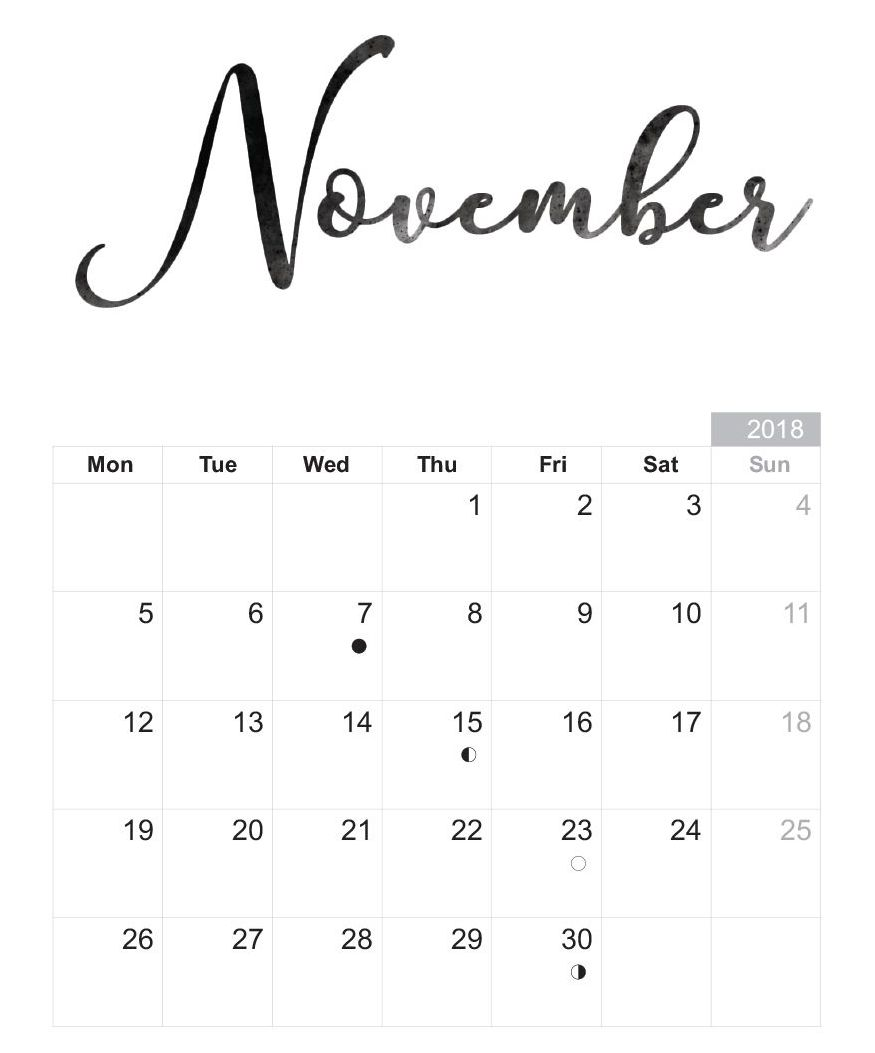 November 2018 Calendar Page Free Printable