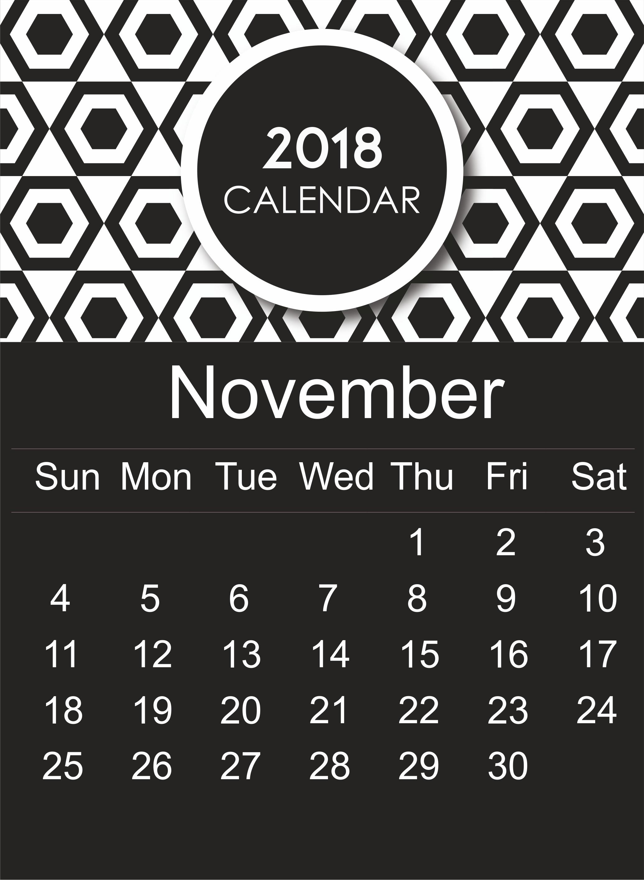 November 2018 Calendar Page Printable