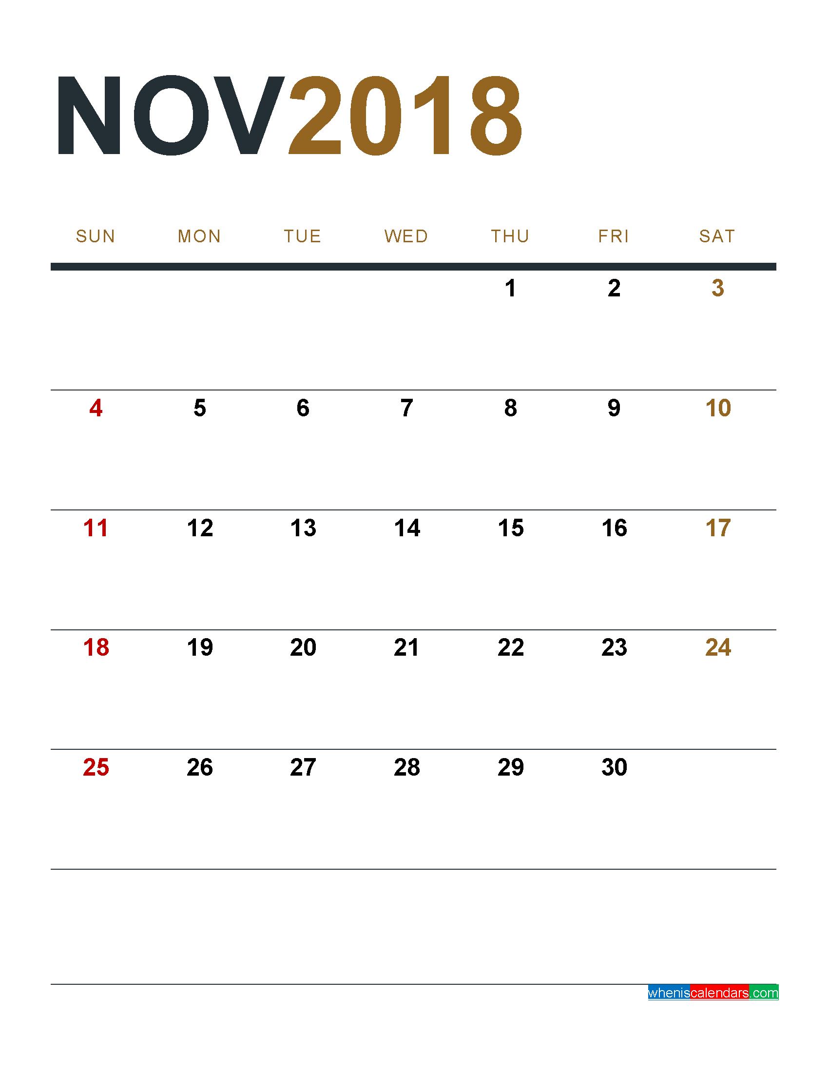 November 2018 Calendar Portrait