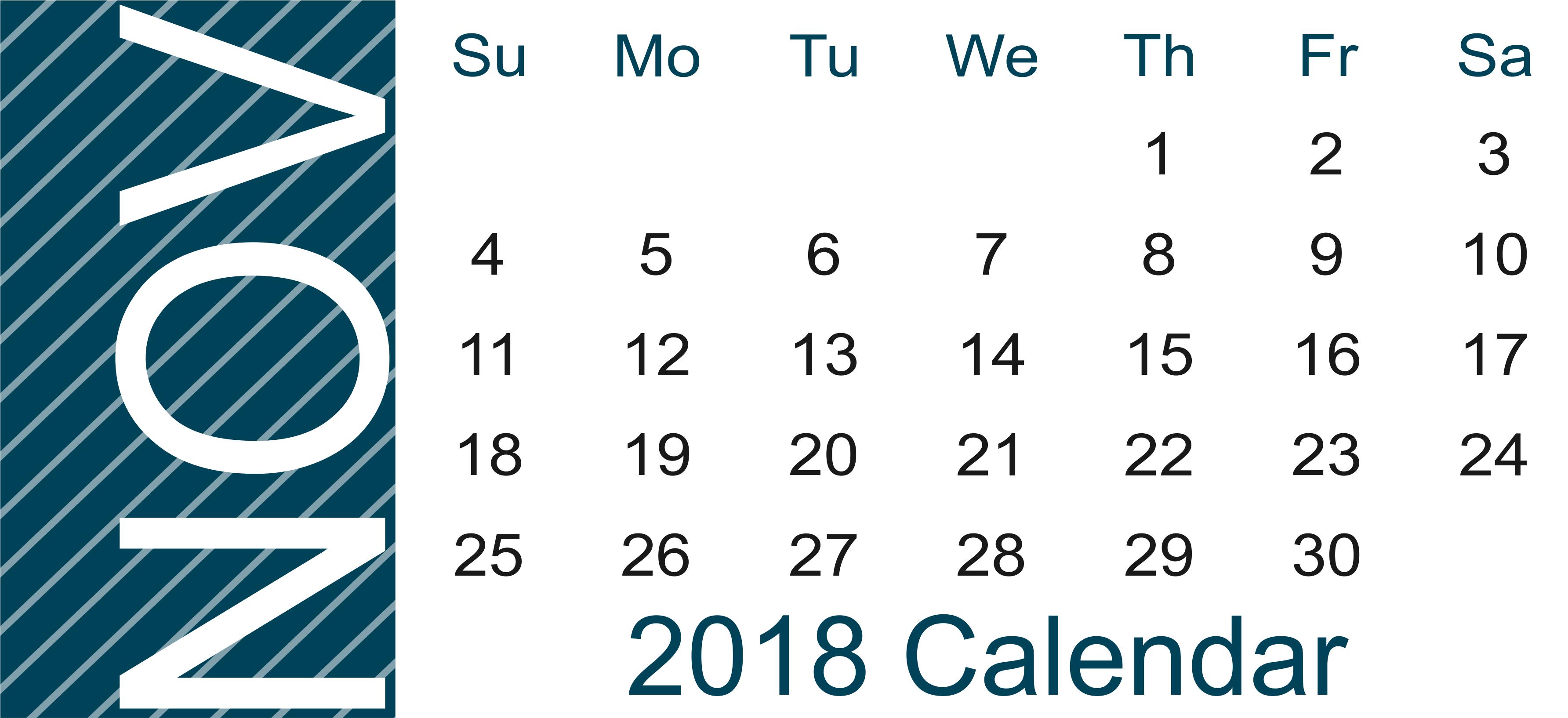November 2018 Calendar Template Landscape