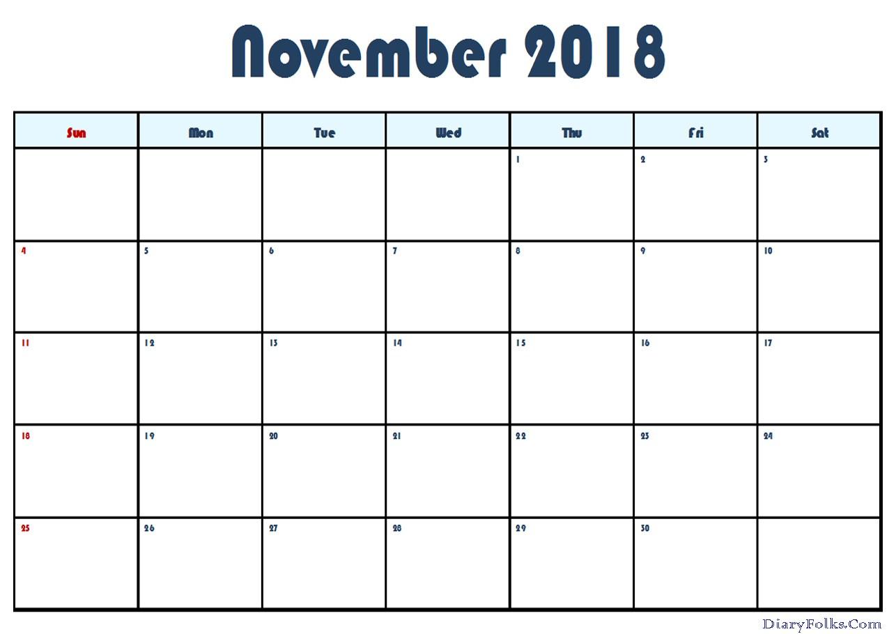 November 2018 Calendar Word Template
