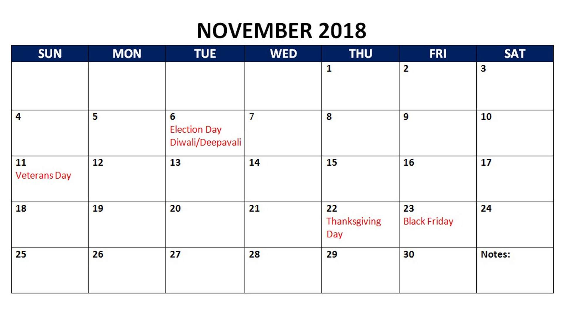 November 2018 Calendar with Holidays Template
