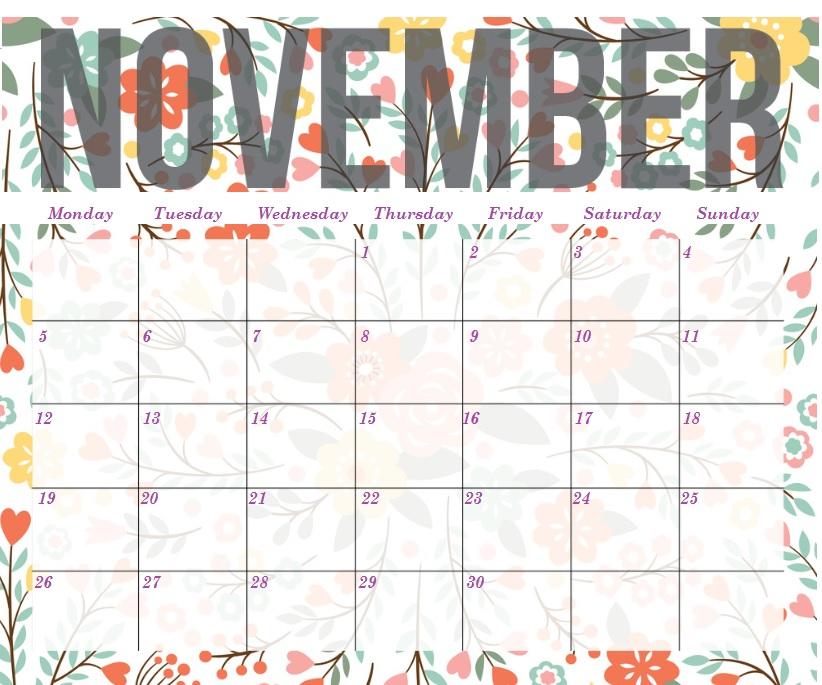November 2018 Floral Calendar Page