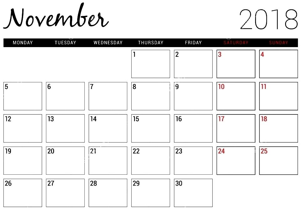 November 2018 Printable Calendar Excel