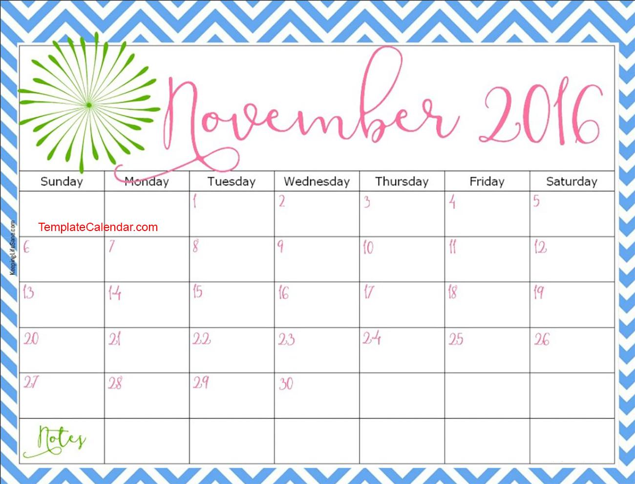 November Calendar 2018 Cute