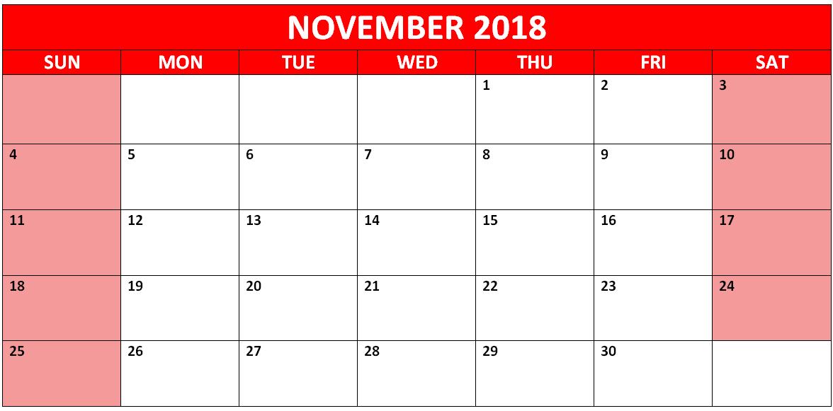 November Calendar 2018 Word