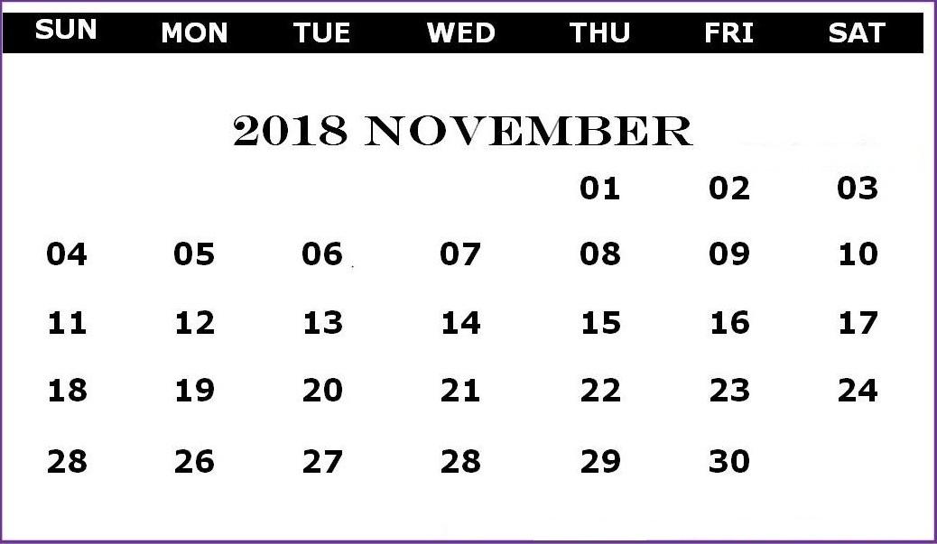 November Calendar Blank