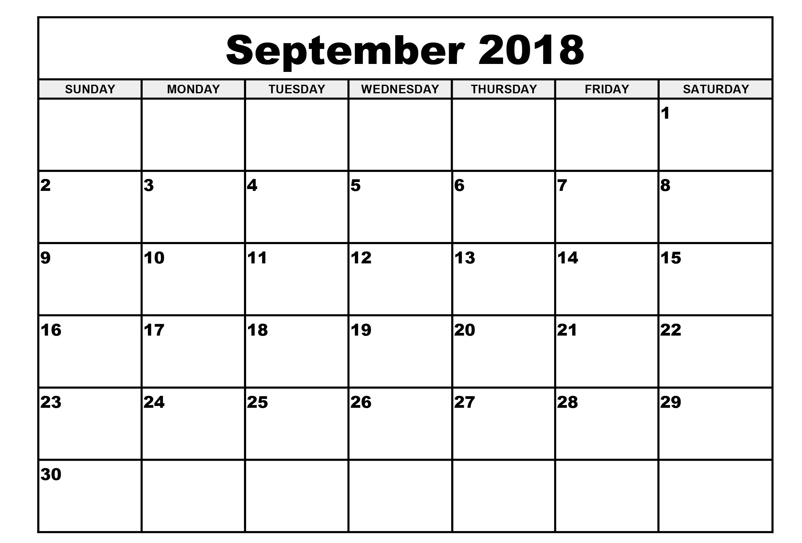 Online 2018 September Monthly Calendar